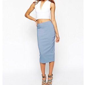 Asos high waisted pencil skirt. Light blue shade.